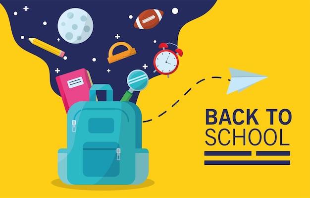 Temporada de letras de regreso a la escuela con mochila y flujo de suministros