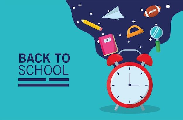 Temporada de letras de regreso a la escuela con reloj despertador y flujo de suministros