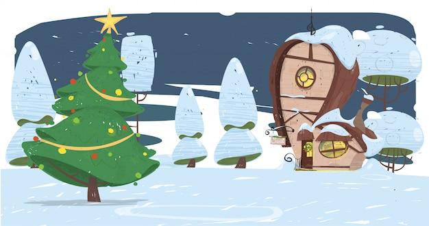 Temporada de navidad. casa de papá noel y abeto