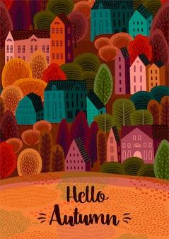Temporada de otoño con ciudad de otoño.