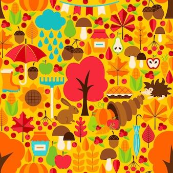 Temporada de otoño de patrones sin fisuras. fondo de vector. textura estacional de otoño.