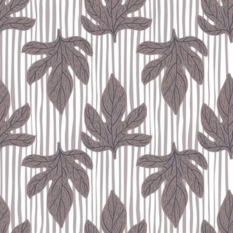 Temporada de patrones sin fisuras con elementos de hojas de color gris. fondo claro a rayas. ilustración vectorial