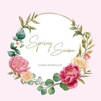 Temporada de primavera con adornos florales de acuarela