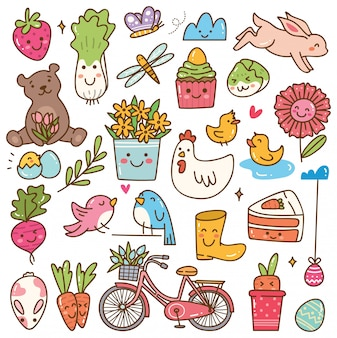 Temporada de primavera kawaii doodle conjunto