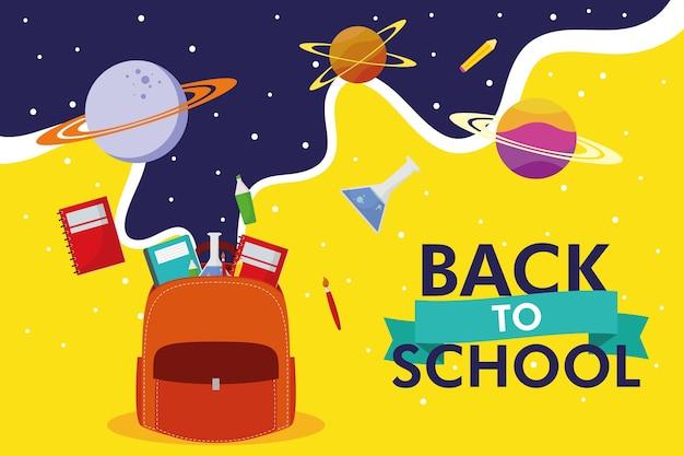 Temporada de regreso a la escuela con mochila y diseño de ilustración de vector de iconos de espacio