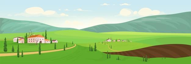 Temporada de siembra en la ilustración de color de las aldeas de las colinas. paisaje de dibujos animados de pequeños pueblos antiguos. vista de primavera de casas de campo. villas privadas en zona rural. paisaje natural
