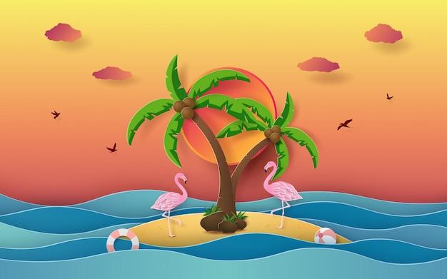 Temporada de verano, la isla en el océano con flamingo.