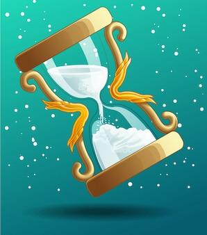 Temporizador de arena está contando para el festival de navidad