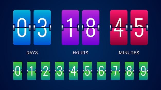Temporizador de contador de reloj de cuenta regresiva flip