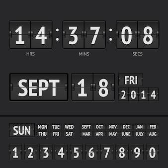 Temporizador digital de marcador negro flip con fecha y hora de la semana
