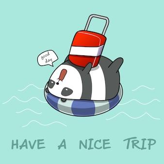 Ten un buen viaje. panda en el aro salvavidas en el mar.