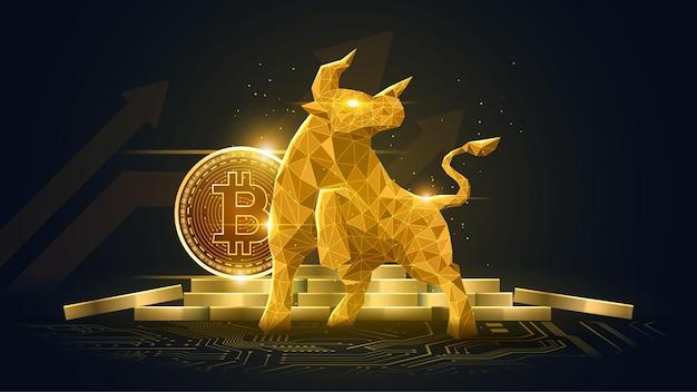 Tendencia alcista de la moneda criptográfica bitcoin en concepto futurista dorado