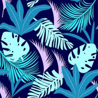 Tendencia brillante de patrones sin fisuras con coloridas hojas tropicales y plantas sobre fondo púrpura
