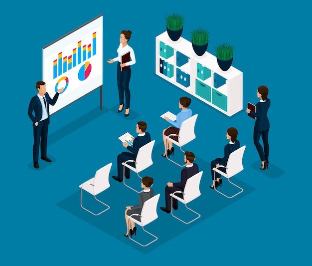 Tendencia isométrica de personas, concepto, sala de capacitación vista frontal, coachers, profesor, enseñanza, conferencia, capacitación empresarial, empresarios en trajes