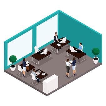 Tendencia isométrica de personas, una habitación, una oficina vista posterior de una gran sala de oficina, trabajo, oficinistas, empresarios y empresaria en trajes aislados
