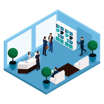 Tendencia isométrica de personas, una sala de comunicación vista frontal de la sala, una gran sala de oficina, recepción, oficinistas, empresarios y empresaria en trajes aislados
