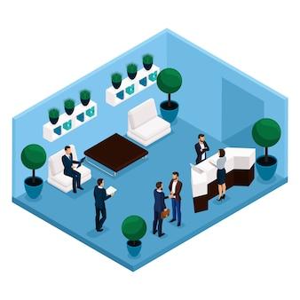 Tendencia isométrica de personas, una sala de comunicación vista trasera, sala de oficina grande, recepción, trabajadores de oficina, empresarios y empresaria en trajes aislados