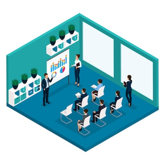 Tendencia isométrica de personas, vista frontal de coachers de oficina, una gran sala de oficina de enseñanza, reunión, conferencia, coach de negocios, negocios