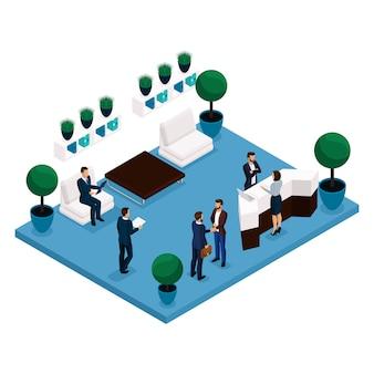 Tendencia isométrica de personas, vista posterior de la sala de comunicación de concepto, sala de oficina grande, recepción, trabajadores de oficina empresarios y empresaria en trajes aislados en una luz