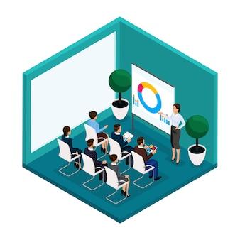 Tendencia isométrica personas, vista posterior de la sala de formación, coachers, formación, conferencias, reuniones, lluvia de ideas, empresarios y empresaria en trajes aislados. ilustración vectorial