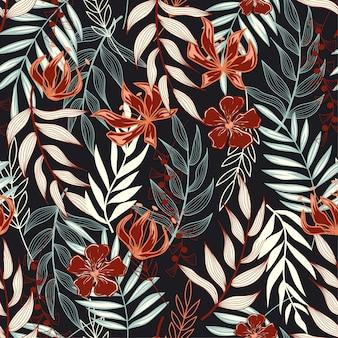 Tendencia de patrones sin fisuras con hojas tropicales y colores brillantes.