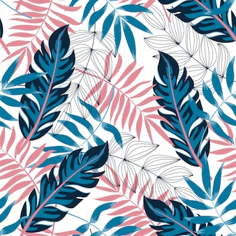 Tendencia de patrones sin fisuras con plantas y hojas tropicales