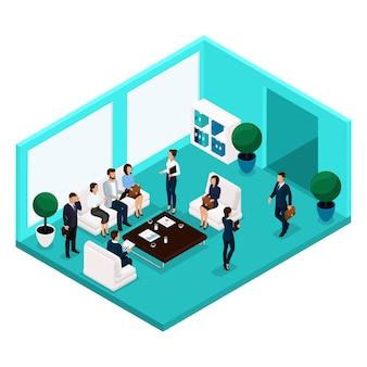 Tendencia personas isométricas que comunican la vista frontal de la sala, una gran sala de oficina, reunión, discusión, lluvia de ideas, negocios y damas de negocios en trajes aislados