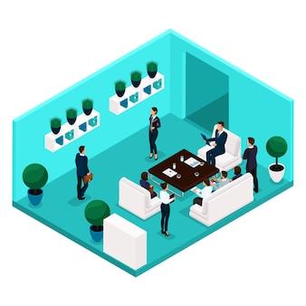 Tendencia personas isométricas que comunican la vista trasera de la sala, la sala de oficina grande, reunión, discusión, lluvia de ideas, negocios y damas de negocios en trajes aislados