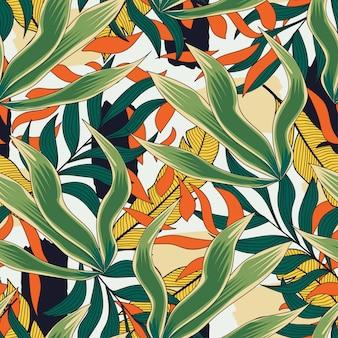 Tendencias de patrones sin fisuras brillantes con hojas y plantas sobre fondo blanco.