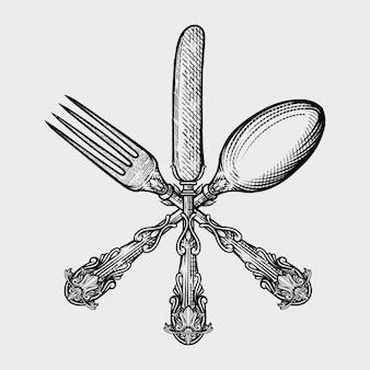 Tenedor, cuchillo, cuchara grabado conjunto vintage.