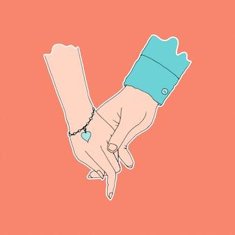 Tenencia de la mano de pareja, símbolo de afecto y cuidado, color plano