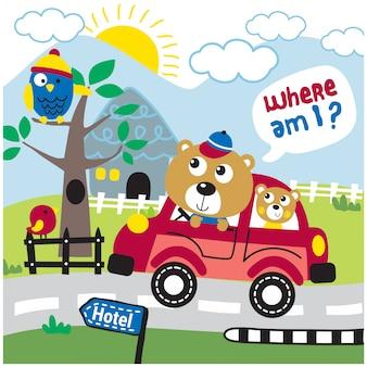 Tener familia en el coche divertidos dibujos animados de animales, ilustración vectorial