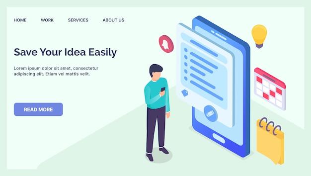 Tenga en cuenta el concepto de tecnología de aplicación para la página de inicio de la plantilla del sitio web con plano isométrico moderno