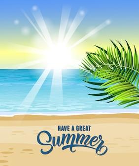 Tenga una gran tarjeta de felicitación de verano con mar, hojas tropicales, playa y salida del sol.