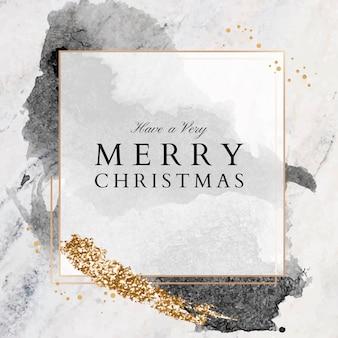 Tenga una tarjeta de felicitación de navidad muy feliz sobre una superficie de mármol, tamaño cuadrado