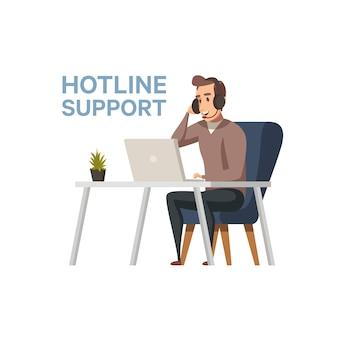 Tengo una pregunta . línea directa operador profesional de soporte técnico con auriculares trabajando en computadora. call center en el trabajo. ilustración de diseño plano. diseño cuadrado.