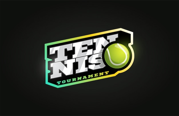 Tenis moderno logotipo de deporte profesional en estilo retro