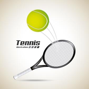 Tenis con pelota y raqueta