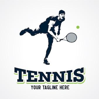 Tennis player logo vector, premium silhouette vector