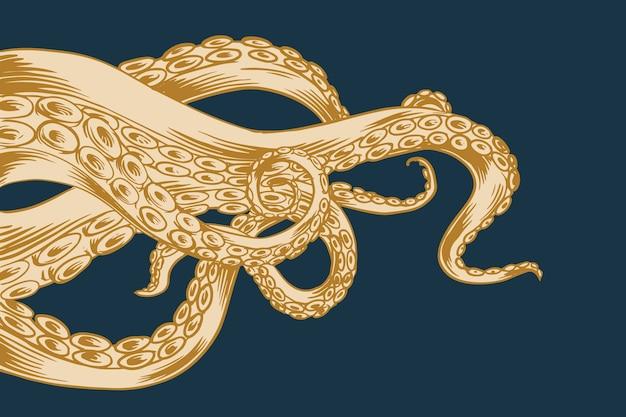 Tentáculos de pulpo de diseño dibujado a mano