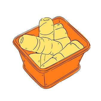 Tequeños dibujados a mano en un tazón