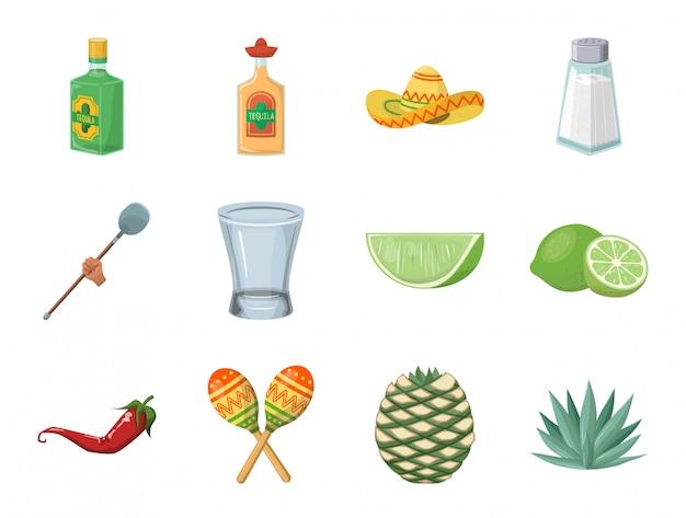 Tequila alcohol y agave conjunto de iconos de dibujos animados.