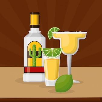 Tequila y limón con cóctel margarita, celebración mexicana