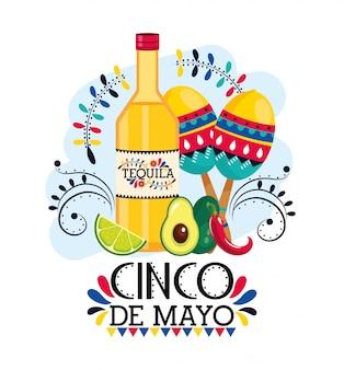 Tequila con maracas y aguacate a evento mexicano.
