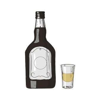 Tequila y vidrio en estilo vintage aislado en blanco
