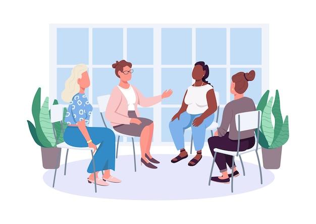 Terapia feminista moderna personajes sin rostro de color plano. cuidado de la salud mental. el psicoterapeuta trabaja con clientas aisladas ilustración de dibujos animados para diseño gráfico y animación web