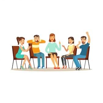 Terapia de grupo de apoyo, psicólogo que asesora a personas con diversas fobias ilustración