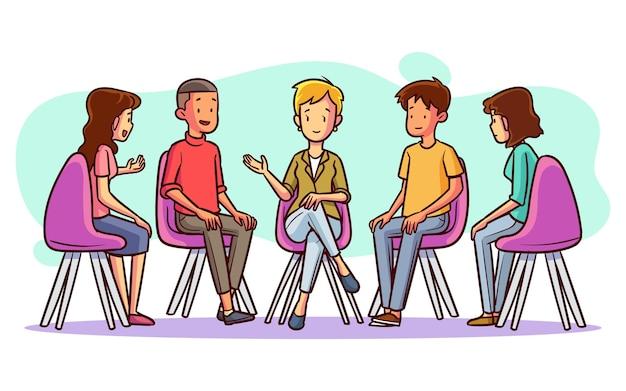 Terapia de grupo dibujada a mano