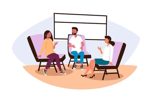 Terapia de grupo de diseño plano con hombre y mujer.