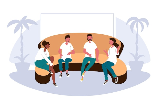 Terapia de grupo de diseño plano con personas en el sofá